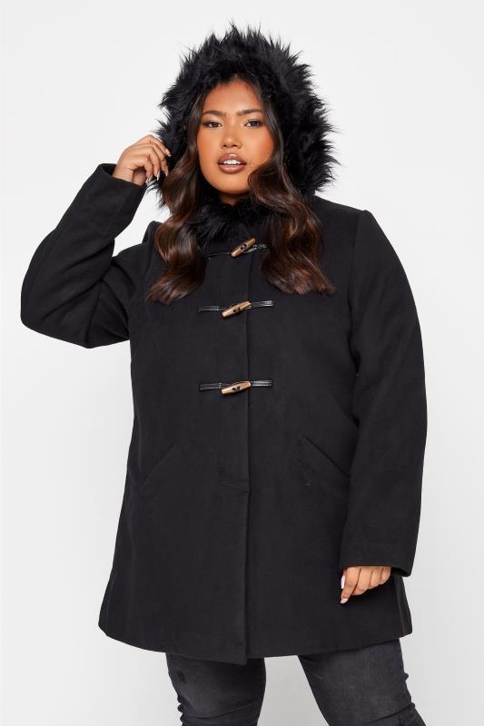 Black Faux Fur Trim Duffle Coat_C.jpg