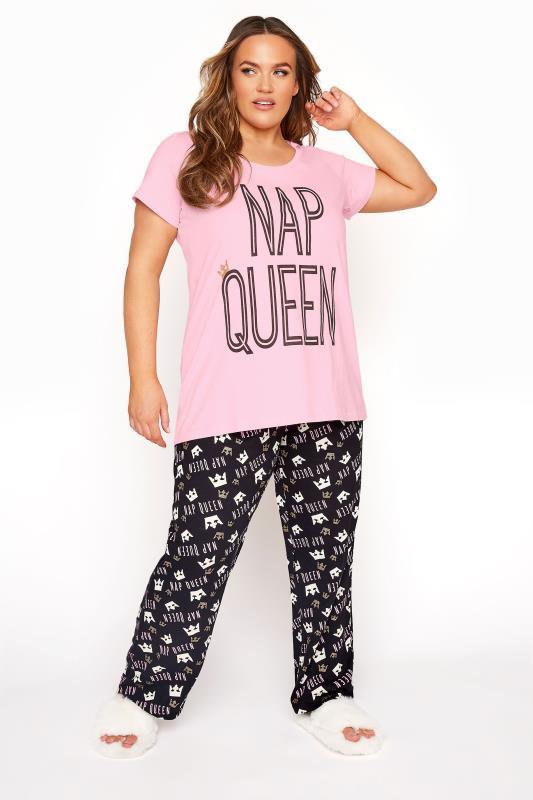 Pink 'Nap Queen' Slogan Pyjama Set
