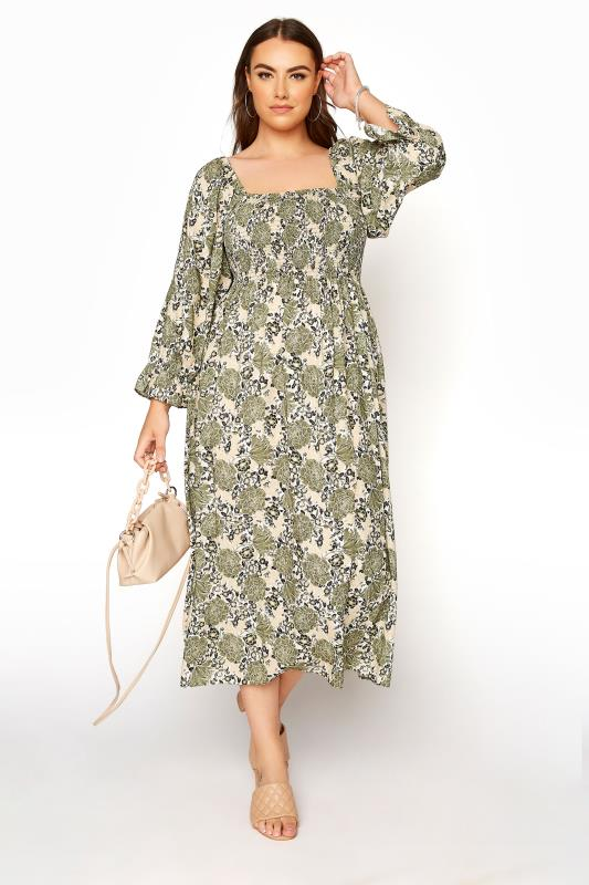 YOURS LONDON Green Shirred Front Floral Midaxi Dress_B.jpg