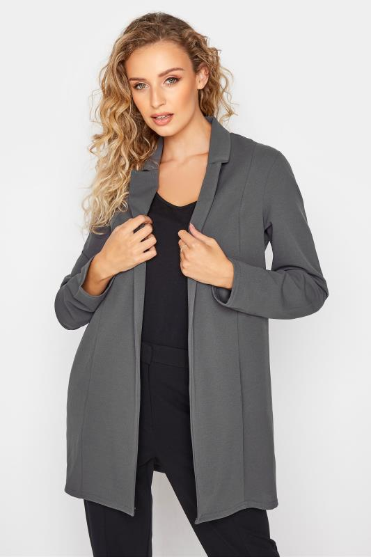 Tall  LTS Charcoal Grey Scuba Longline Blazer