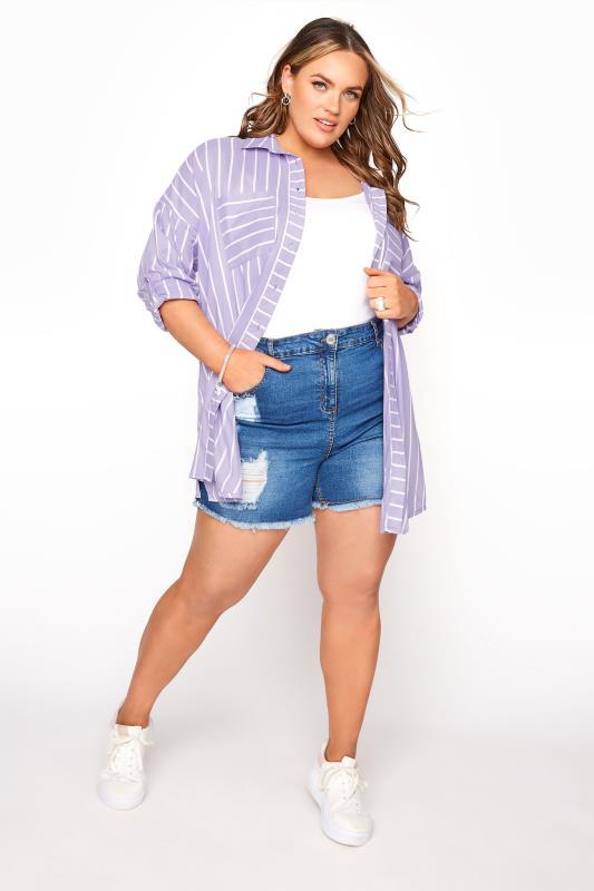 Lilac Striped Oversized Drop Shoulder Shirt_B.jpg