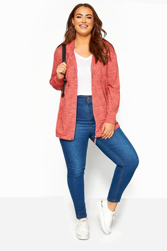 Hoodies & Jackets Tallas Grandes Coral Marl Zip Through Hoodie