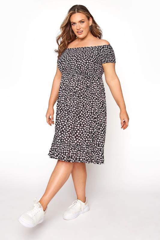 Plus Size  Black Ditsy Floral Shirred Bardot Dress
