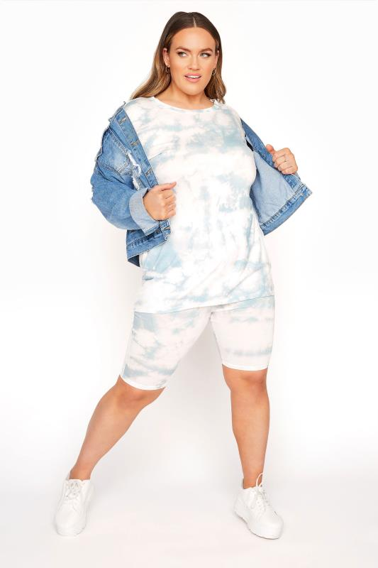 Plus Size  LIMITED COLLECTION Sage Green Tie Dye Cycle Shorts