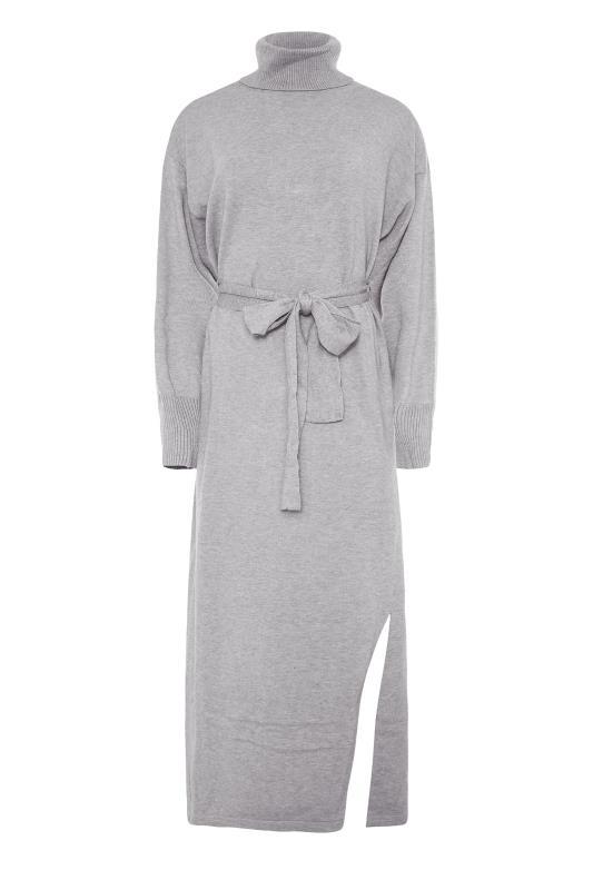 LTS Grey Roll Neck Knitted Midi Dress_F.jpg