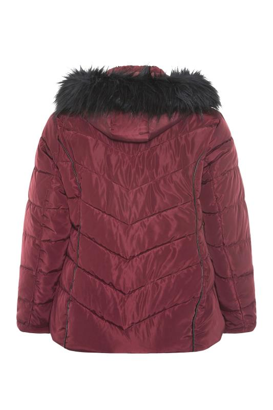 Red PU Trim Panelled Puffer Jacket_BK.jpg