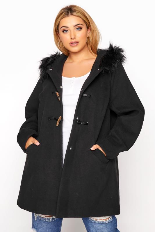 Plus Size  Black Faux Fur Trim Duffle Coat