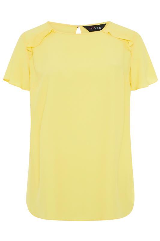 Plus Size  Lemon Yellow Angel Sleeve Frill Shoulder Tunic