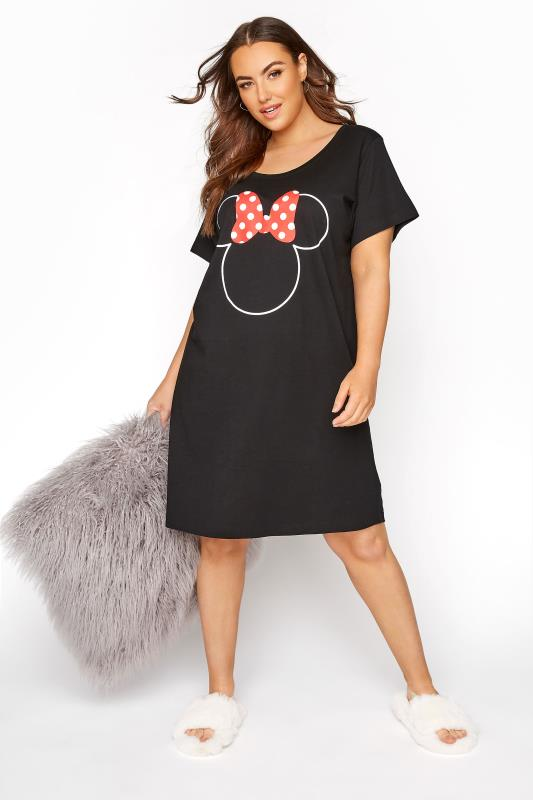 Plus Size  Black Minnie Mouse Bow Nightdress