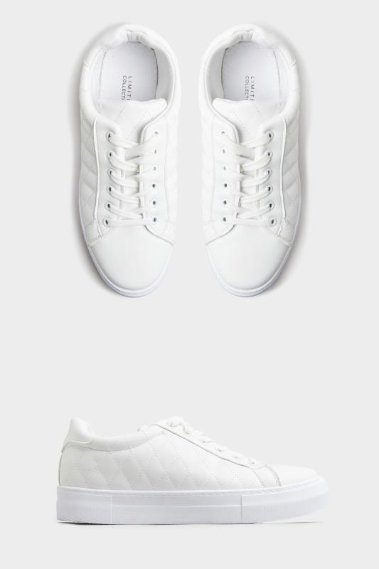 LIMITED COLLECTION White Quilted Trainers In Wide Fit