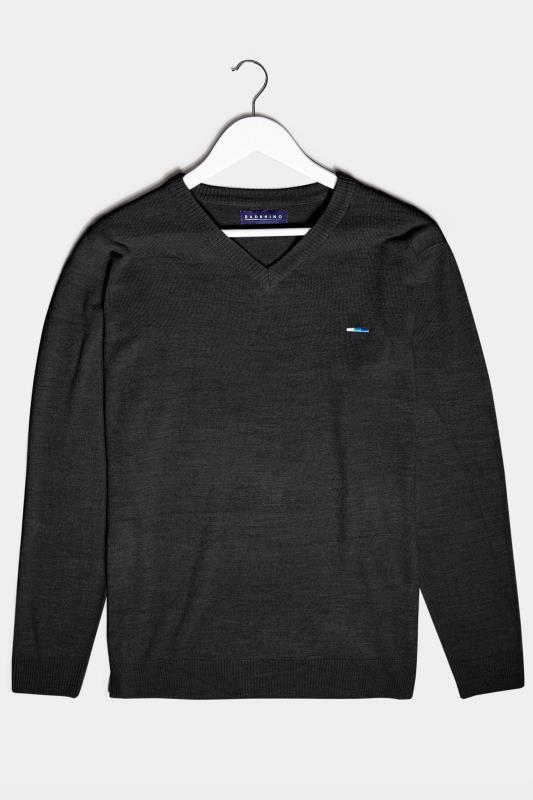 Men's  BadRhino Black Essential V-Neck Knitted Jumper