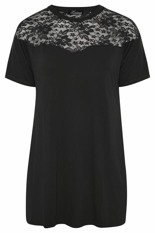 LIMITED COLLECTION Black Lace Yoke T-Shirt_F.jpg