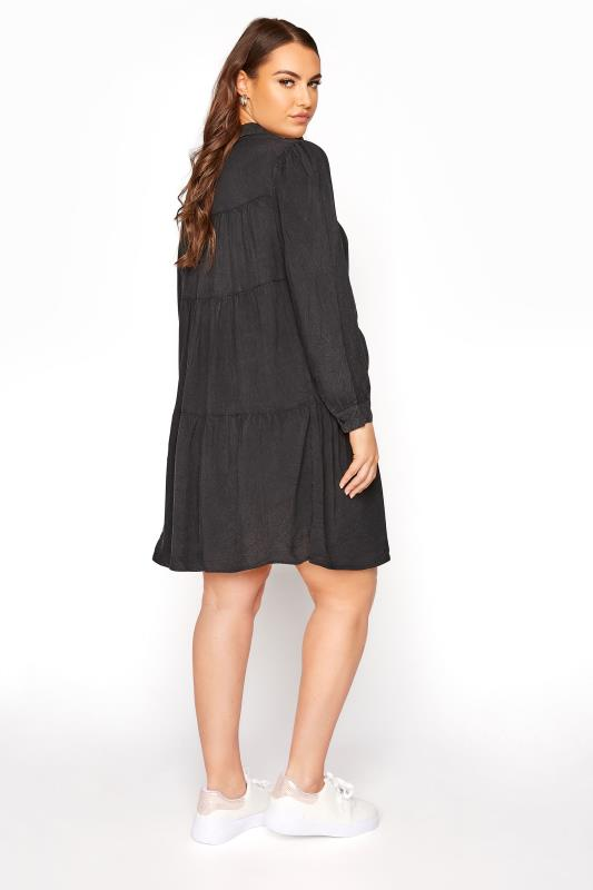 LIMITED COLLECTION Black Washed Denim Look Tiered Shirt Dress_C.jpg