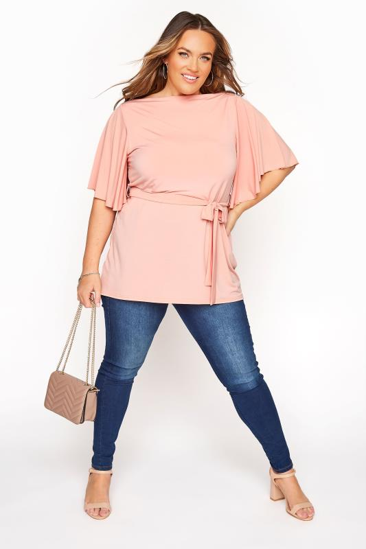 YOURS LONDON Pink Slinky Belted Top_B.jpg
