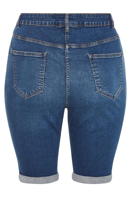Mid Blue Cat Scratch Denim Shorts_bk.jpg