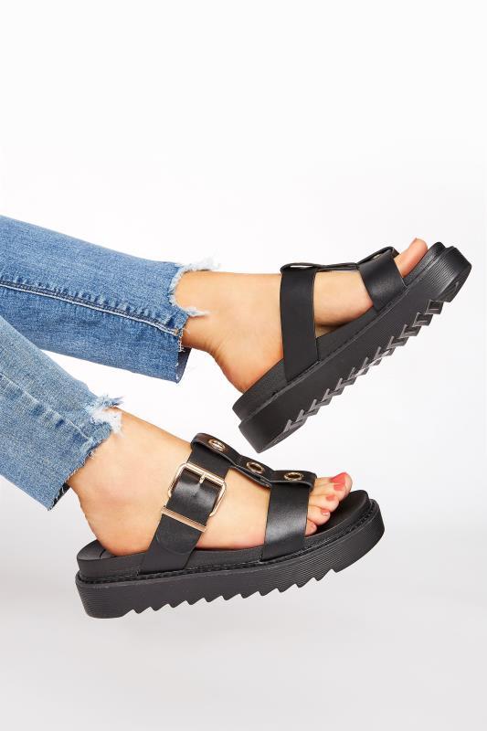 Black Metal Detail Chunky Mule Sandals In Regular Fit_A.jpg