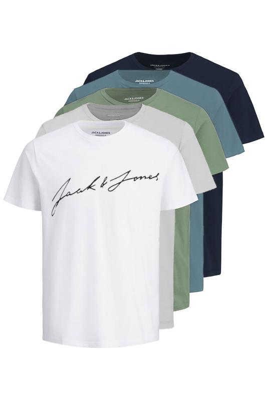 Men's  JACK & JONES Multi JORJAX 5 Pack T-Shirts