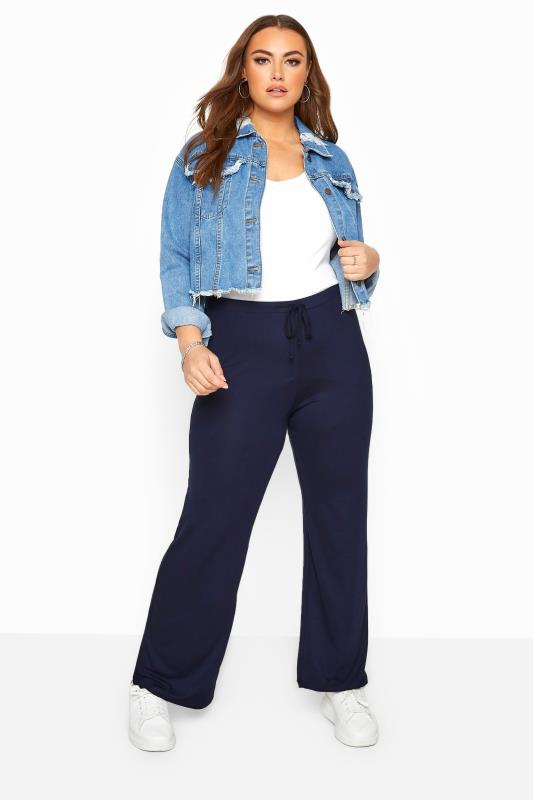 Joggers Grande Taille BESTSELLER Navy Wide Leg Pull On Stretch Jersey Yoga Pants