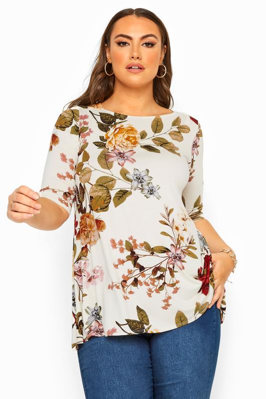 Plus Size Jersey Tops White Floral Print Jersey Swing Top
