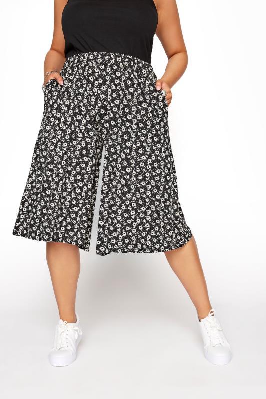 Black Floral Print High Waist Culottes