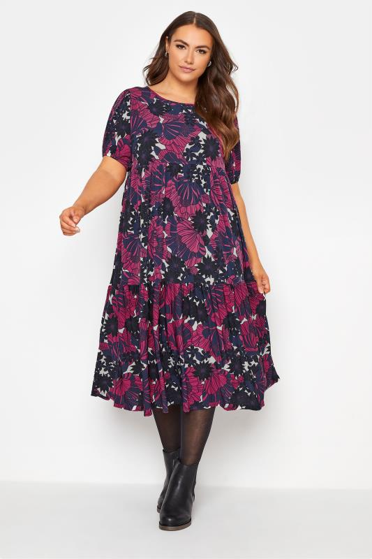 dla puszystych Navy & Pink Floral Puff Sleeve Smock Midi Dress