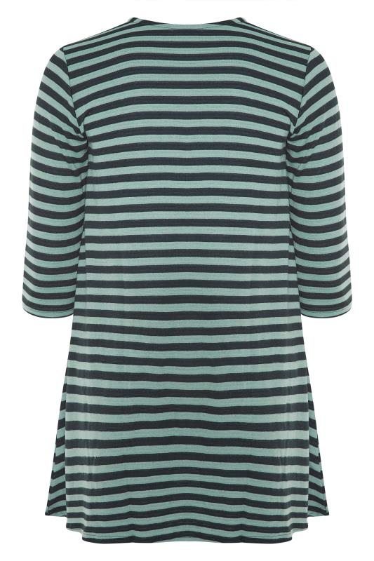 Green Stripe 3/4 Length Sleeve Top_BK.jpg