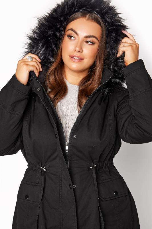 Black Faux Fur Trim Hooded Parka_RD.jpg