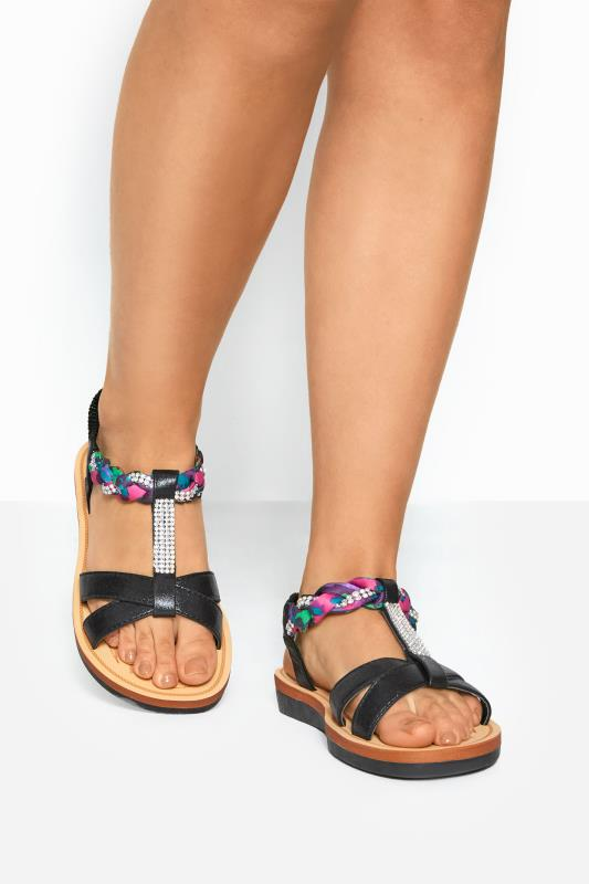 Black Shimmer Diamante Plait Sandals In Extra Wide Fit