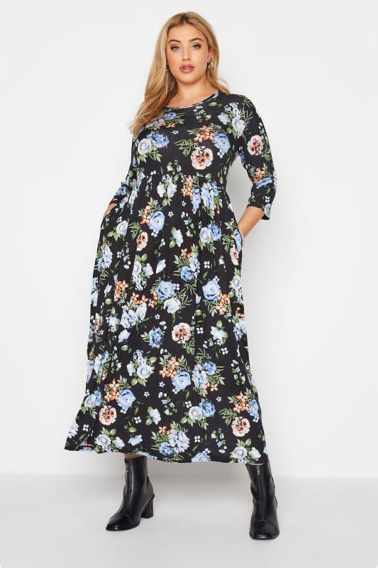 Black Pocket Floral Midaxi Dress_A.jpg