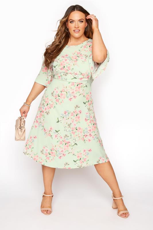 YOURS LONDON Sage Green Floral Dress_A.jpg