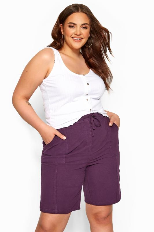 Plus Size Casual / Every Day Purple Cool Cotton Pull On Shorts