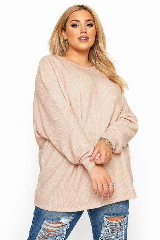 Plus Size  Pink Ribbed Batwing Knitted Top