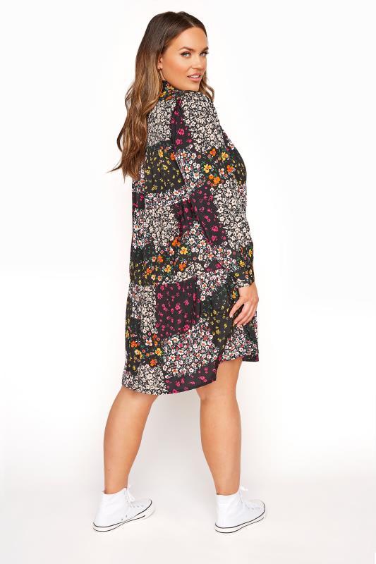 LIMITED COLLECTION Black Floral Patchwork Shirt Dress_C.jpg