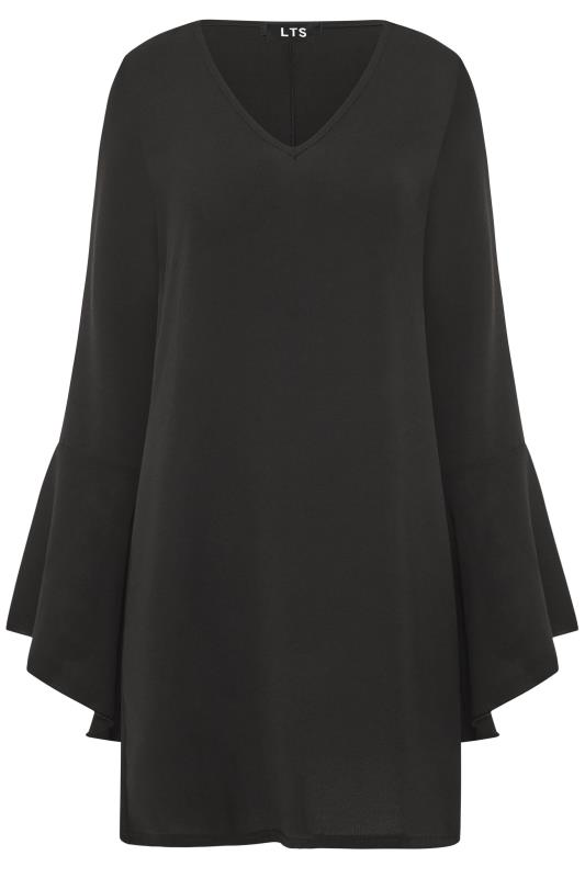 LTS Black Wide Flute Sleeve Tunic Top
