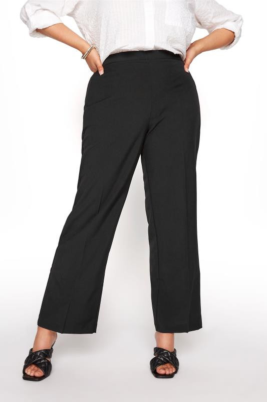 Plus Size Straight Leg Trousers Black Classic Straight Leg Trousers with Elasticated Waistband  - PETITE
