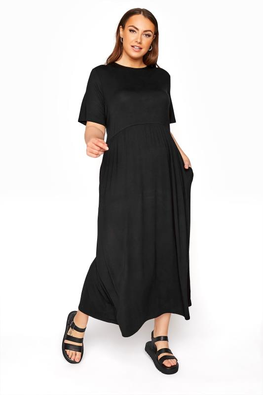 dla puszystych LIMITED COLLECTION Black Throw On Maxi Dress