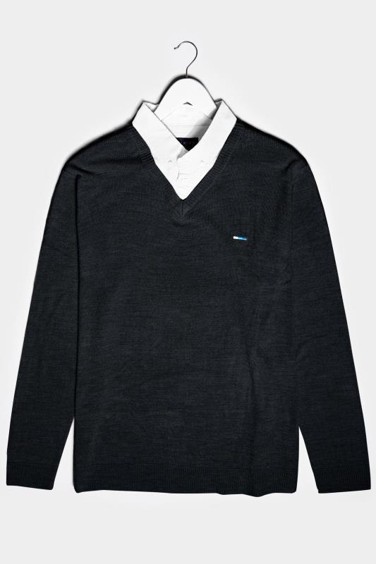 Men's  BadRhino Black & White Essential Mock Shirt Jumper