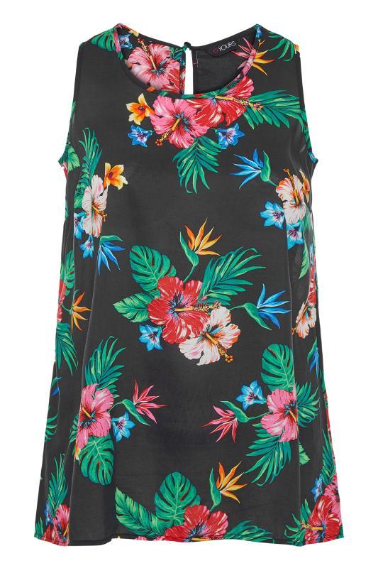 Plus Size  Black Tropical Print Sleeveless Top