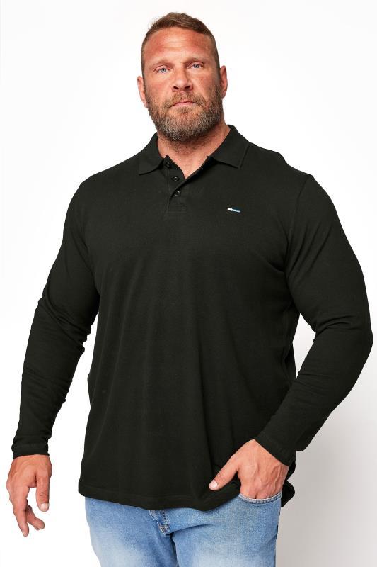 Men's  BadRhino Black Essential Long Sleeve Polo Shirt