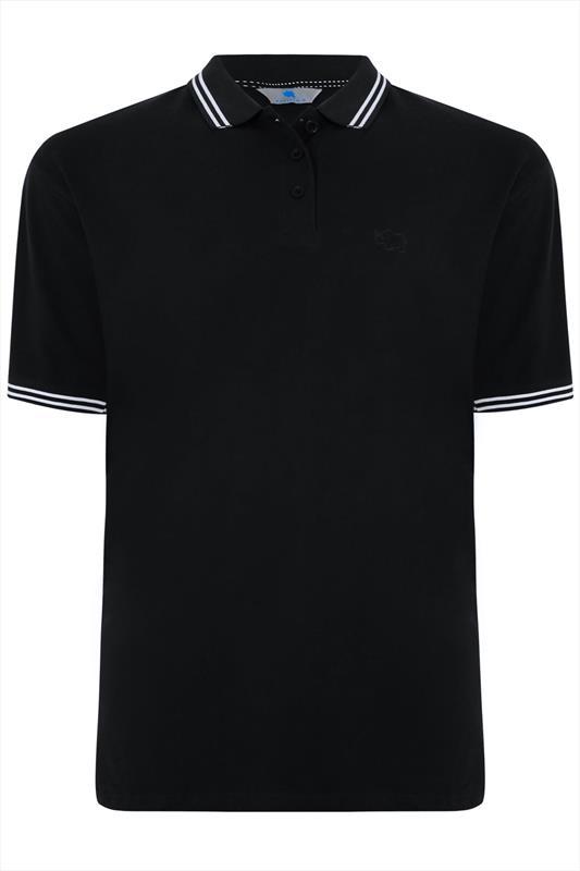 BadRhino Black Textured Tipped Polo Shirt