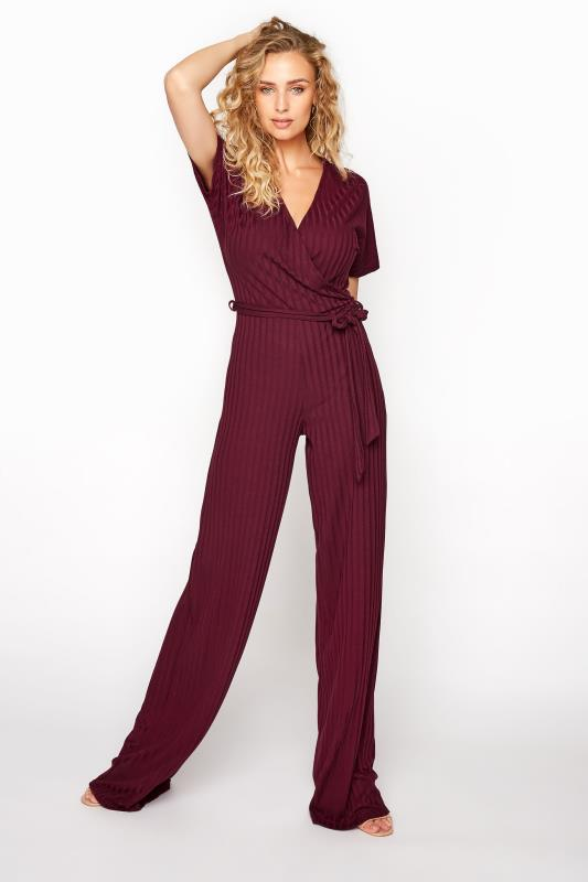 Tall  LTS Burgundy Ribbed Wrap Jumpsuit