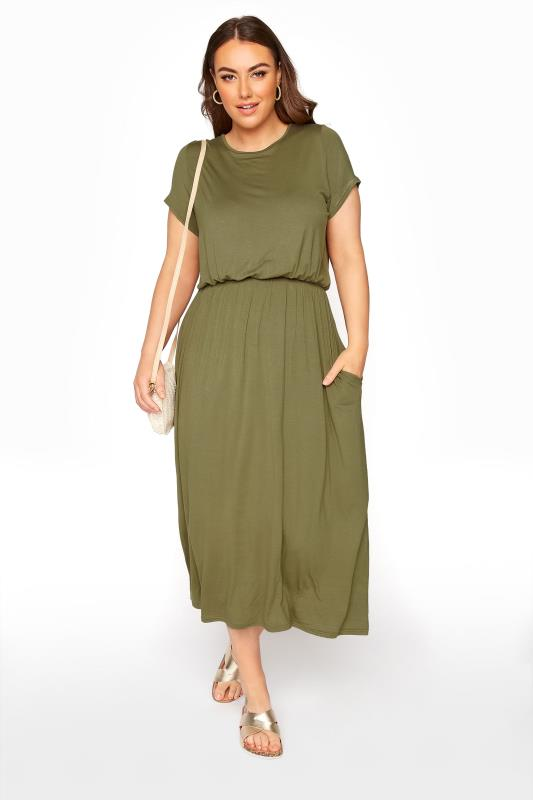 Großen Größen  YOURS LONDON Khaki Pocket Maxi Dress