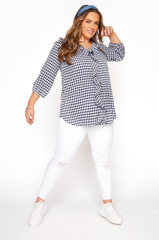YOURS LONDON Blue Gingham Frill Front Blouse