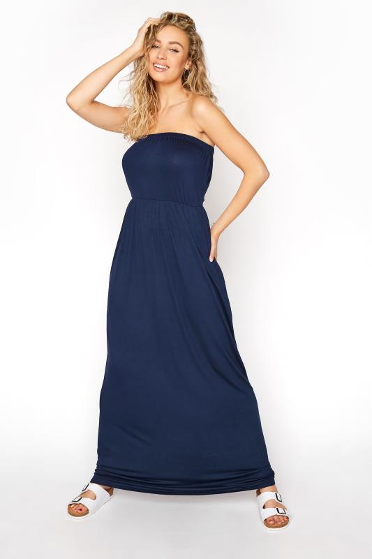 LTS Navy Strapless Maxi Dress