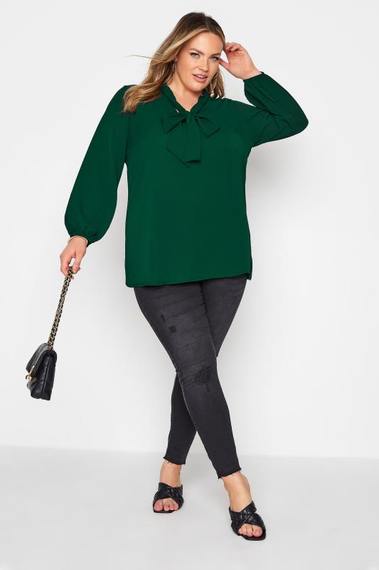 YOURS LONDON Forest Green Bow Blouse_B.jpg
