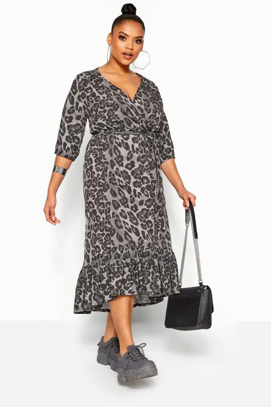 Plus Size Wrap Dresses LIMITED COLLECTION Grey Leopard Print Frill Smock Midi Dress