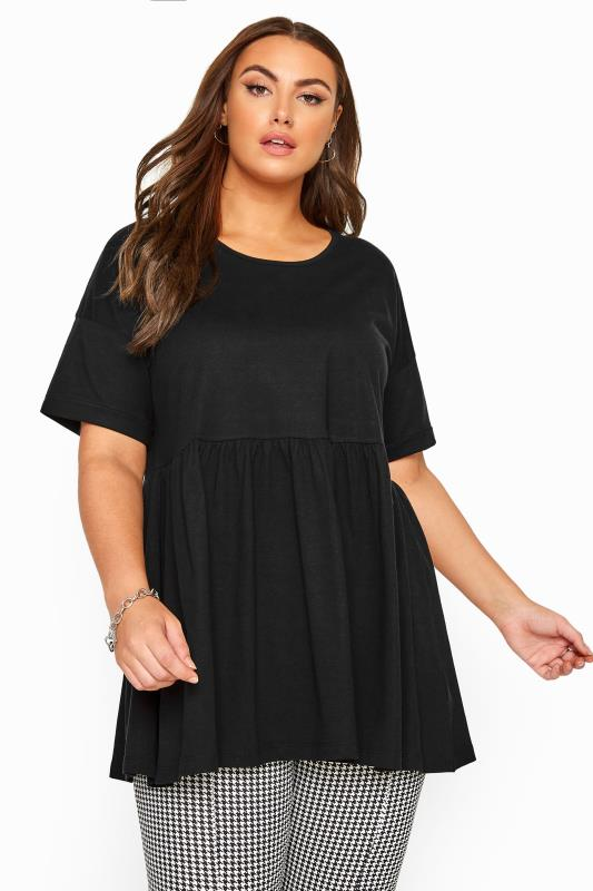 Plus Size Jersey Tops Black Drop Shoulder Peplum Top