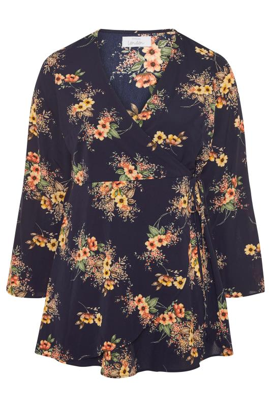 YOURS LONDON Navy Autumn Floral Flute Sleeve Wrap Top