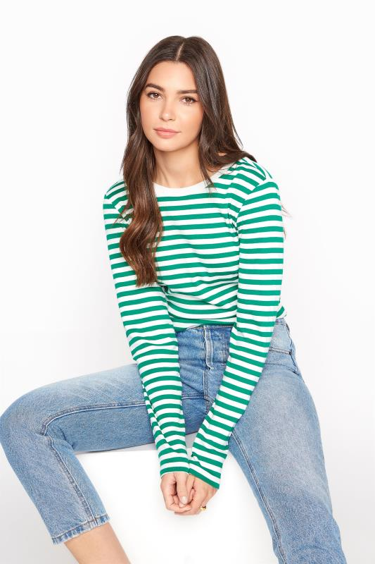 Tall  Green & White Stripe Long Sleeve Top