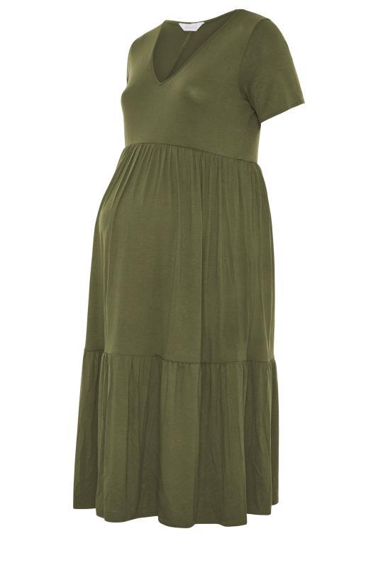 BUMP IT UP MATERNITY Khaki V-Neck Tiered Midi Dress_f.jpg